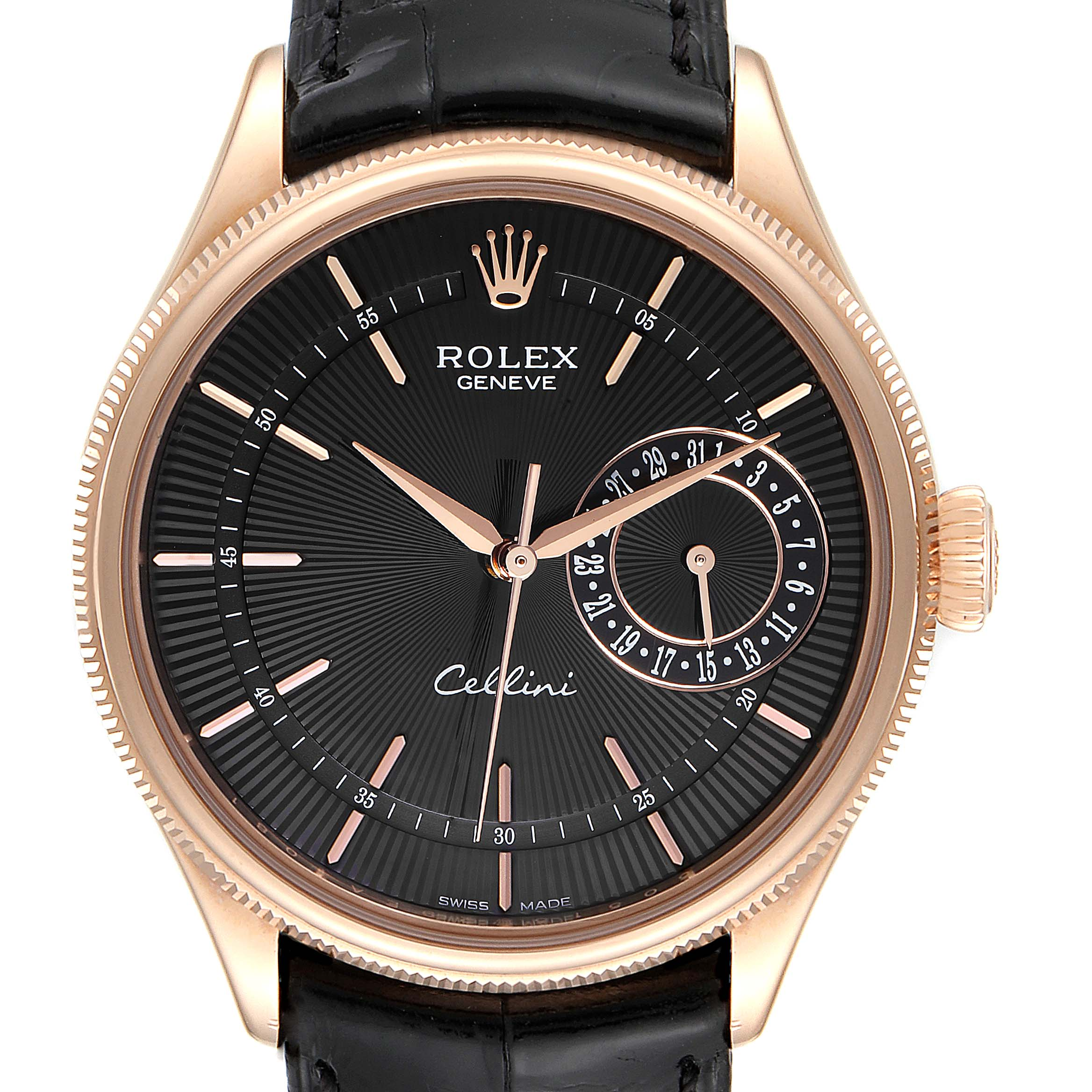 Photo of Rolex Cellini Date Everose Gold Black Dial Automatic Mens Watch 50515