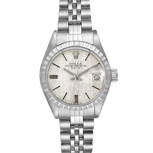 Photo of Rolex Date Silver Linen Dial Automatic Steel Vintage Ladies Watch 6924