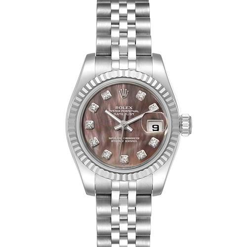 Photo of Rolex Datejust 26 Steel White Gold MOP Diamond Ladies Watch 179174