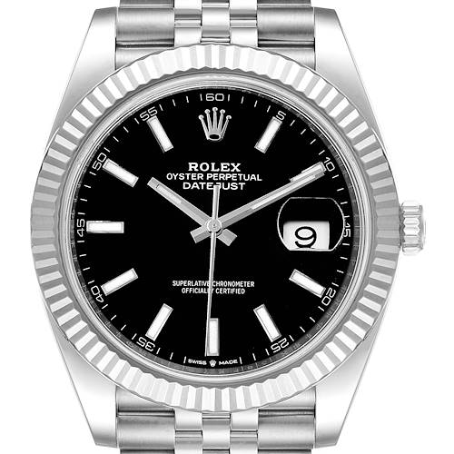 Photo of Rolex Datejust 41 Steel White Gold Black Dial Mens Watch 126334 Box Card