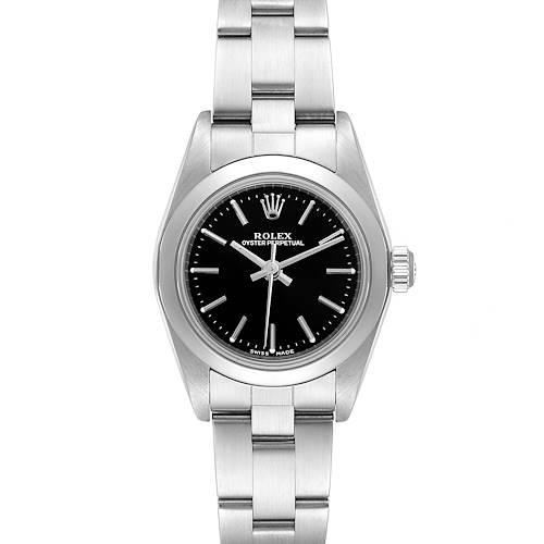 Photo of Rolex Oyster Perpetual Nondate Black Dial Steel Ladies Watch 76080 Box Papers