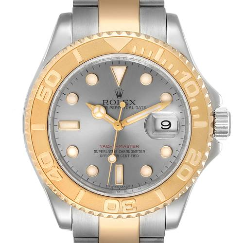 Photo of Rolex Yachtmaster Steel Yellow Gold Slate Dial Mens Watch 16623 Box Card