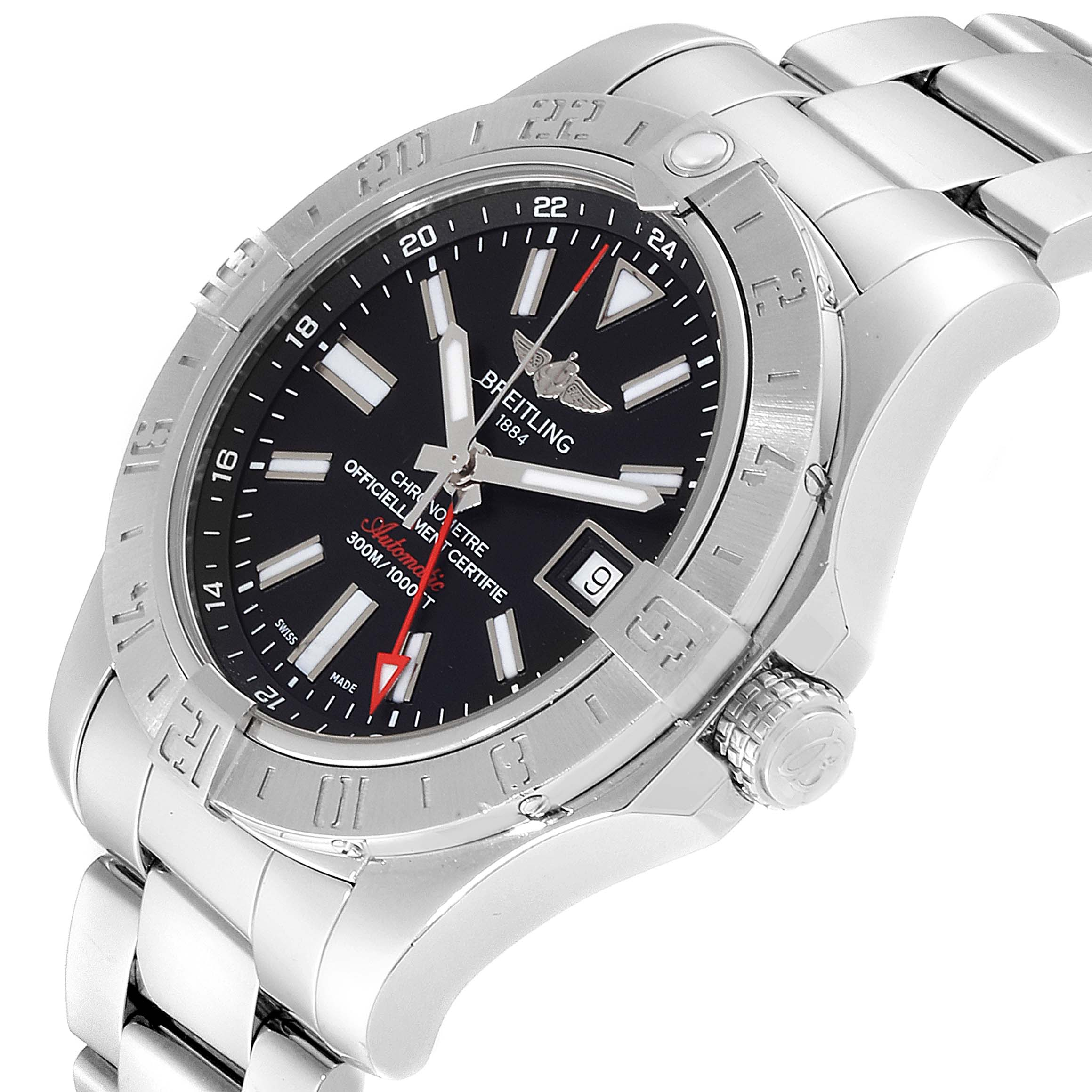 Breitling Aeromarine Avenger II GMT Black Dial Watch A32390 Box SwissWatchExpo
