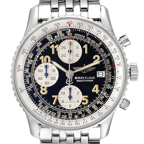 Photo of Breitling Navitimer II Black Dial Steel Mens Watch A13022 Box Papers