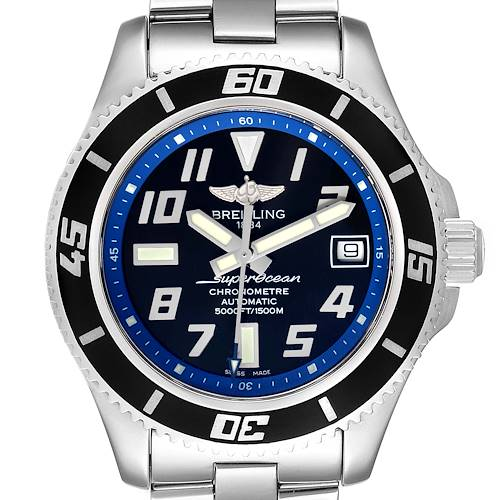 Photo of Breitling Superocean 42 Abyss Black Blue Dial Steel Mens Watch A17364 Papers