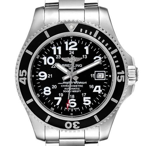 Photo of Breitling Superocean II Black Dial Steel Mens Watch A17365 Box Card