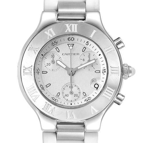 Photo of Cartier Must 21 Chronoscaph White Rubber Unisex Watch W10184U2