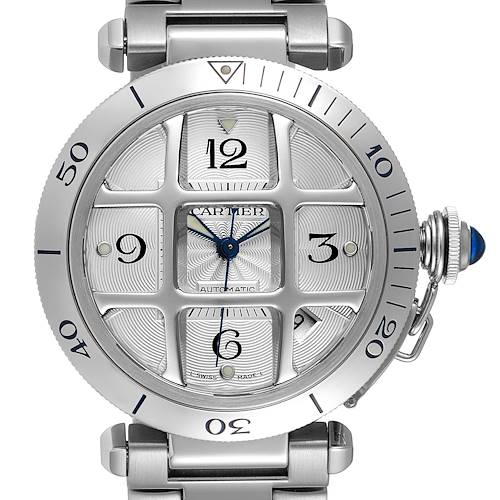 Photo of Cartier Pasha 38mm Silver Dial Steel Grid Unisex Watch W31059H3 Box Papers