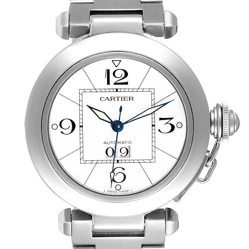 Photo of Cartier Pasha C Midsize Big Date Steel Watch White Dial W31055M7 Box Papers
