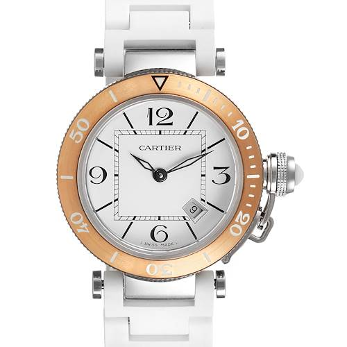 Photo of Cartier Pasha Seatimer Steel Rose Gold Rubber Strap Ladies Watch W3140001