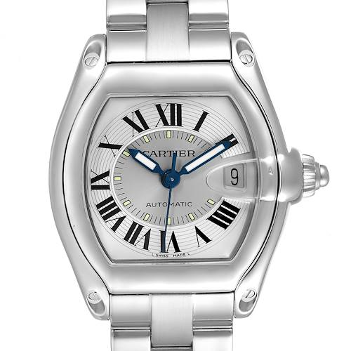 Photo of Cartier Roadster Silver Roman Dial Steel Mens Watch W62000V3 Box Papers