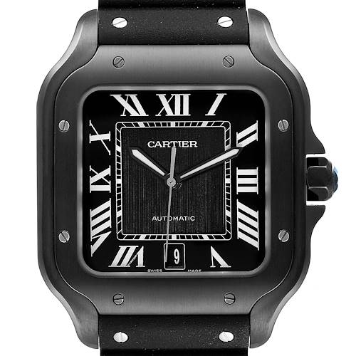 Photo of Cartier Santos de Cartier Black Rubber Strap Steel Mens Watch WSSA0039 Unworn