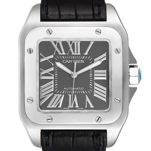 Photo of Cartier Santos 100 Gray Dial Black Strap Steel Watch W20073X8 Box Papers