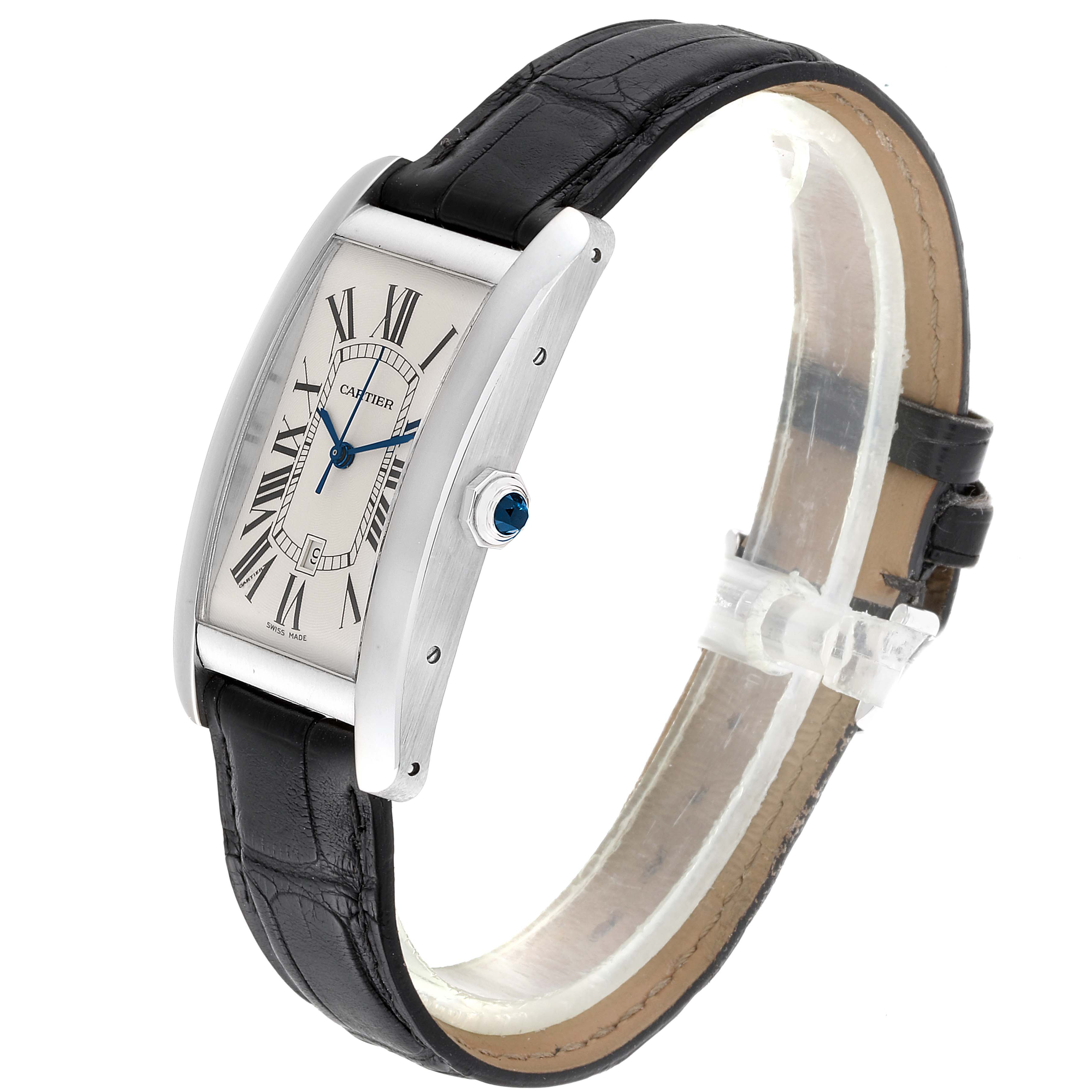 Cartier Tank Americaine 18K White Gold Large Mens Watch W2603256 SwissWatchExpo