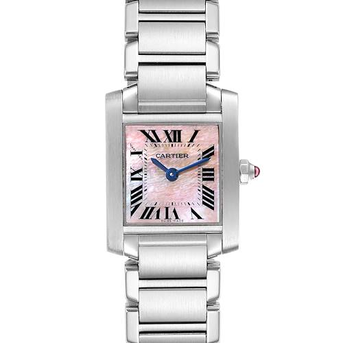 Photo of Cartier Tank Francaise Pink Mother of Pearl Steel Ladies Watch W51028Q3
