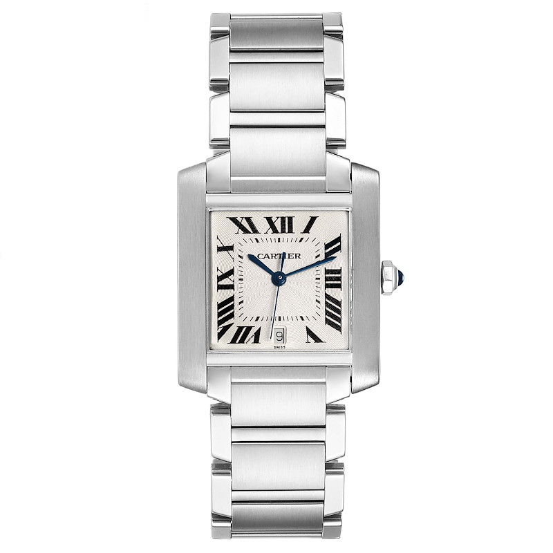 Cartier Tank Francaise Silver Dial Automatic Steel Mens Watch W51002Q3 SwissWatchExpo