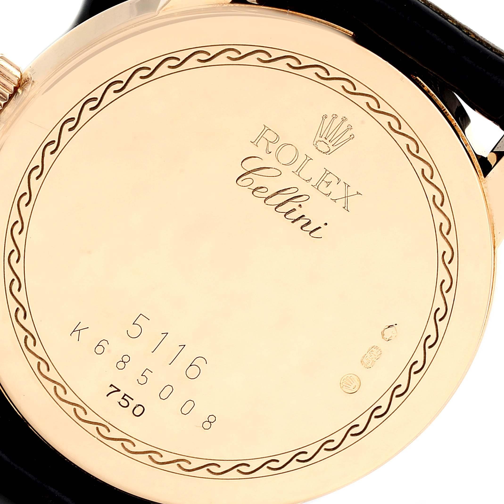 Rolex Cellini Classic Slate Dial 18k Gold Mens Watch 5116 SwissWatchExpo