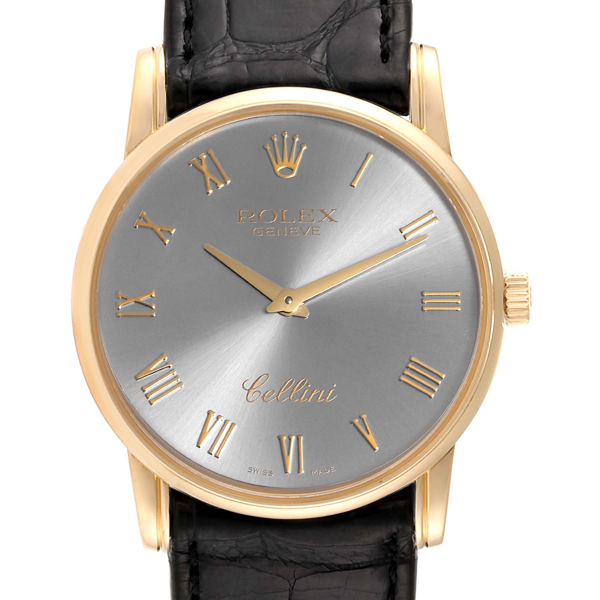Rolex Cellini Classic Slate Dial 18k White Gold Mens Watch 5116 SwissWatchExpo