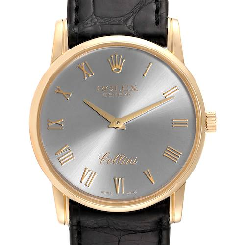 Photo of Rolex Cellini Classic Slate Dial 18k Gold Mens Watch 5116