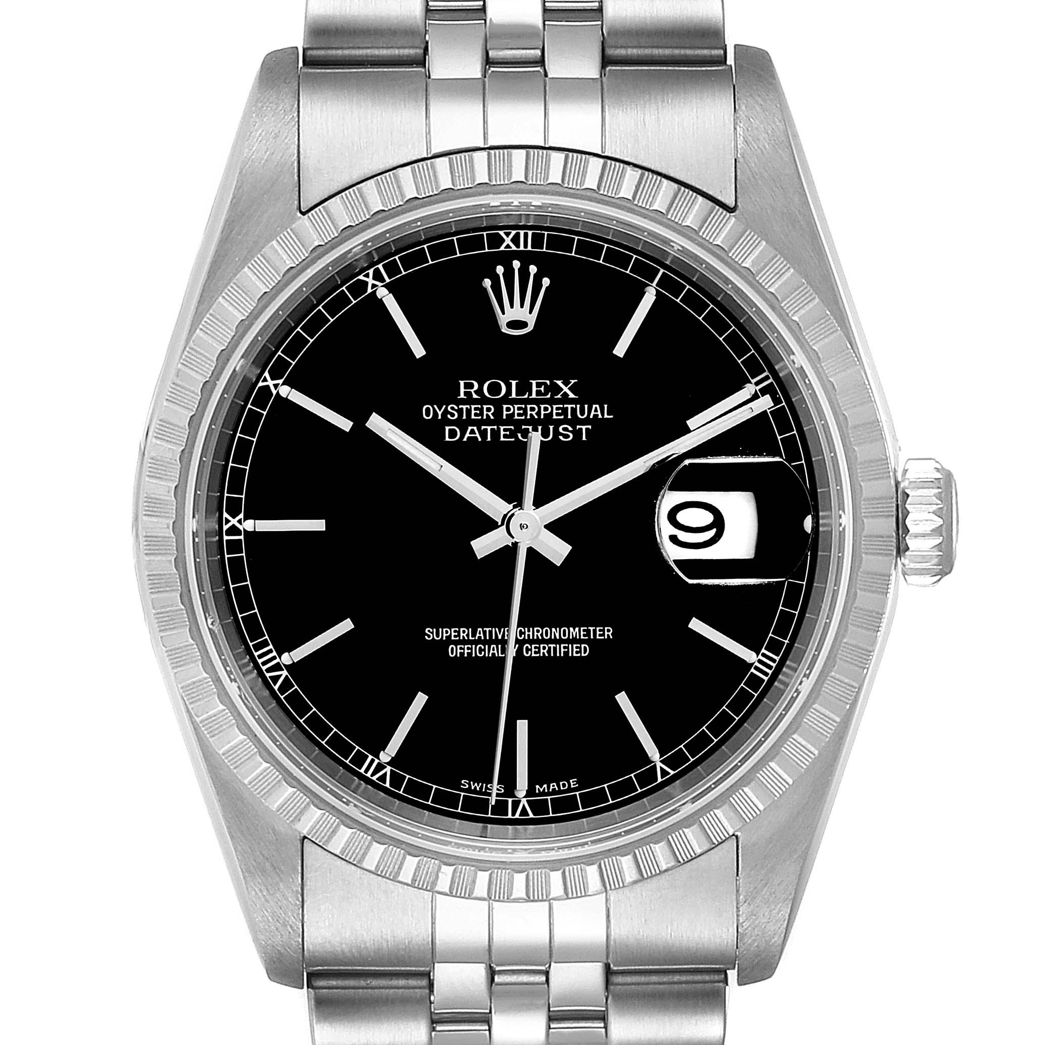 Rolex Datejust 36mm Black Dial Jubilee Bracelet Steel Mens Watch 16220