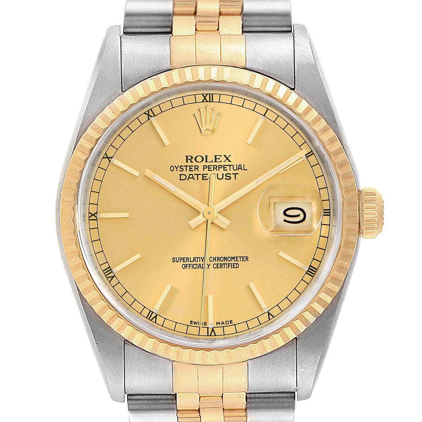 Rolex Datejust 36mm Stainless Steel Yellow Gold Mens Watch 16233 Box
