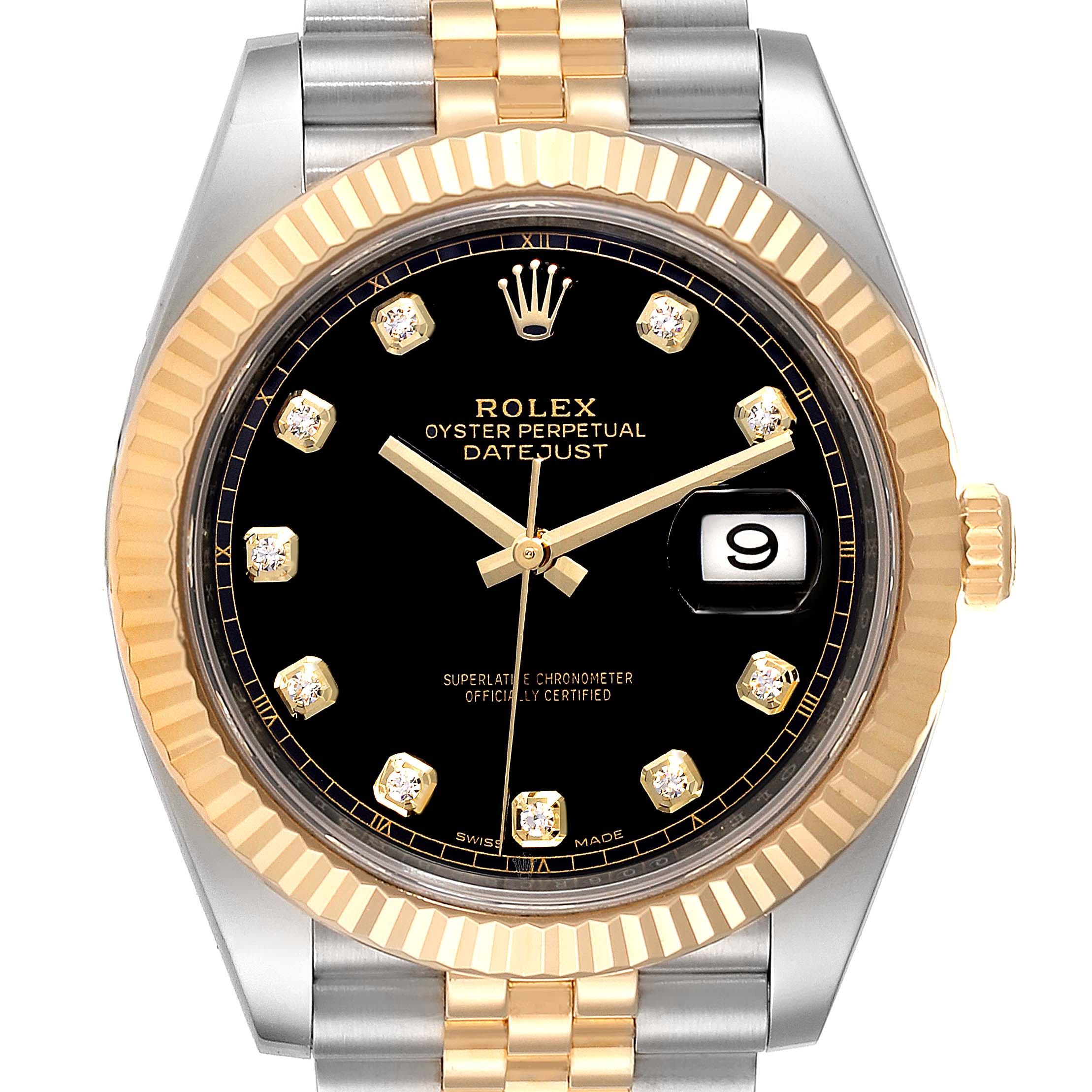 Rolex Datejust 41 Steel Yellow Gold Black Diamond Dial Mens Watch 126333