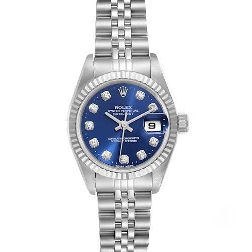 Photo of Rolex Datejust Ladies Steel White Gold Blue Diamond Dial Ladies Watch 69174