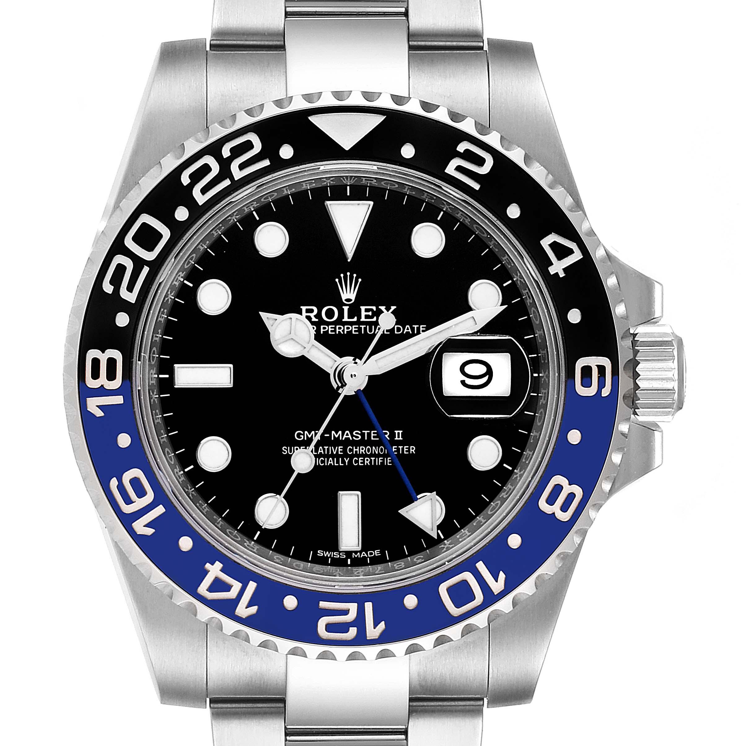Rolex GMT Master II Batman Blue Black Bezel Steel Watch 116710 Unworn