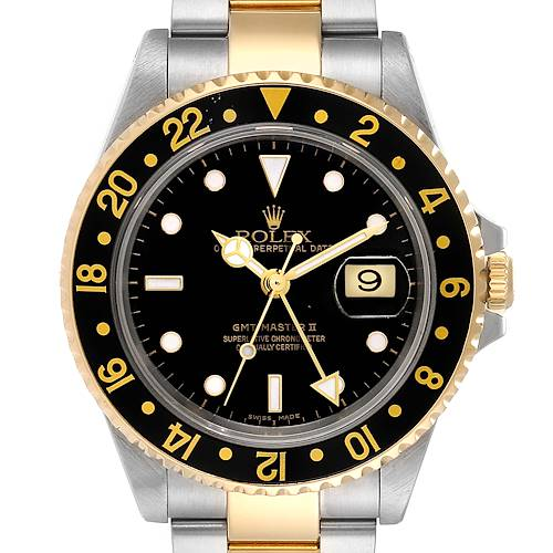Photo of Rolex GMT Master II Yellow Gold Steel Mens Watch 16713 Box Papers