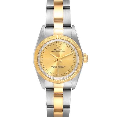 Photo of Rolex Oyster Perpetual Steel Yellow Gold Champagne Dial Ladies Watch 76243