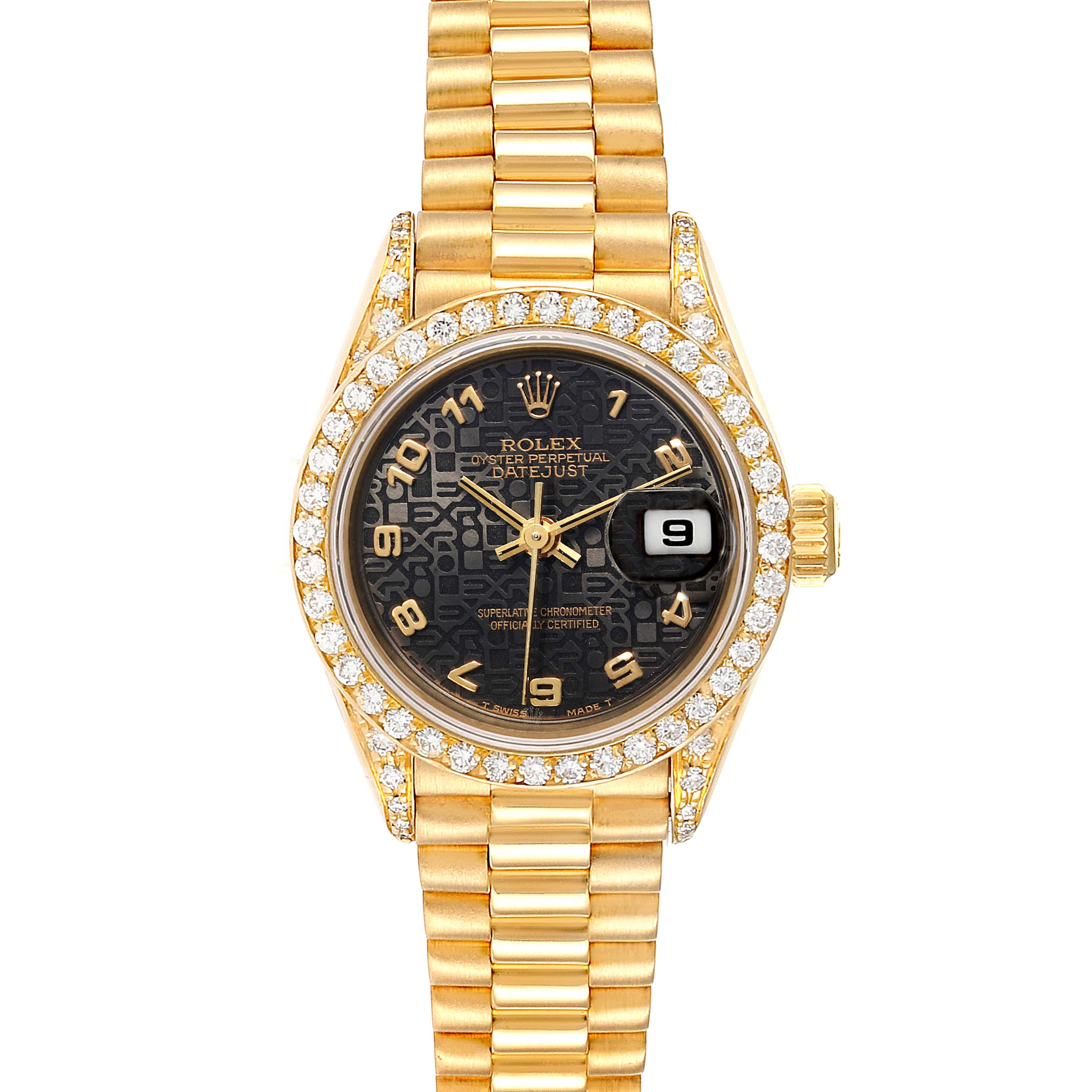 Rolex President Datejust Black Dial Yellow Gold Diamond Ladies Watch 69038