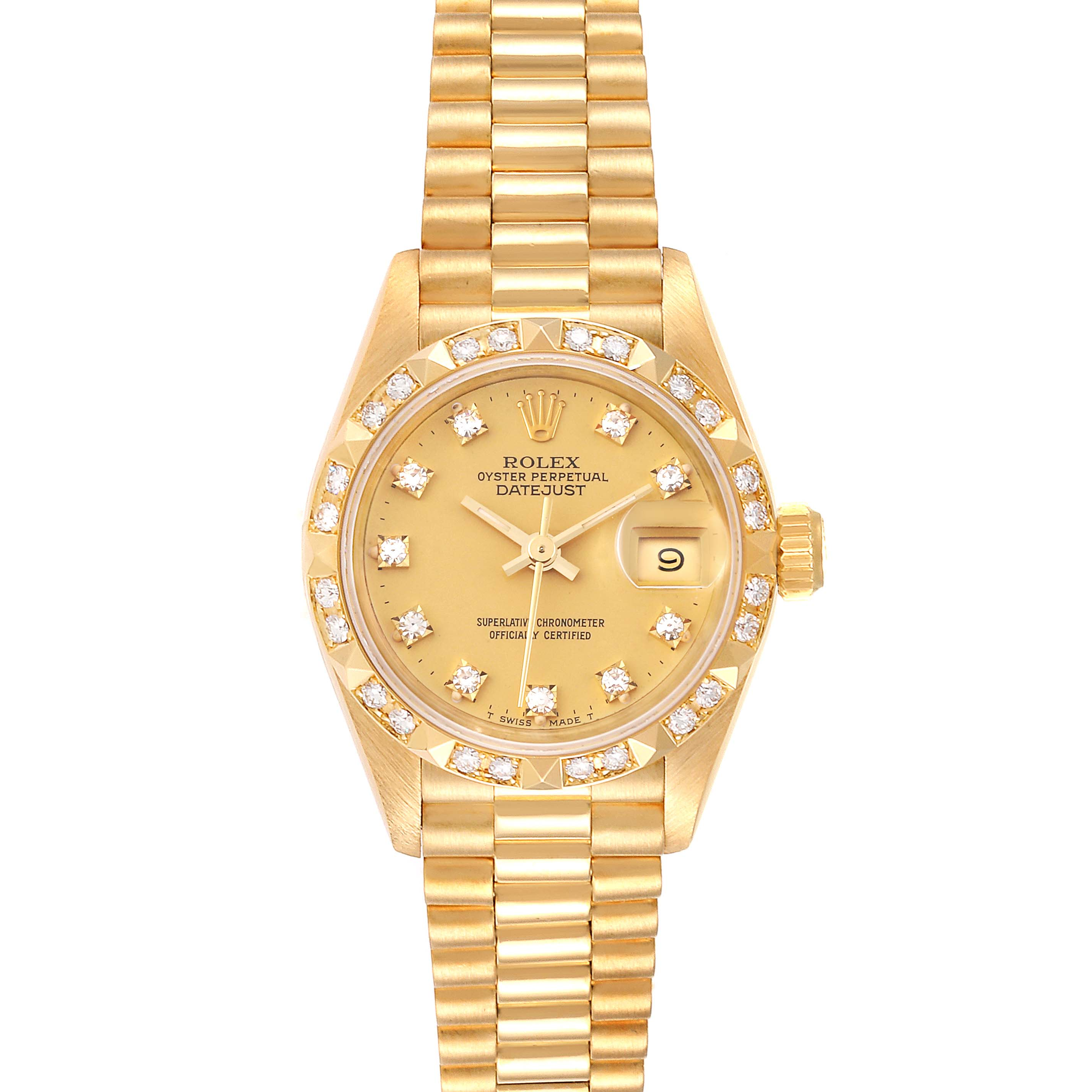 Rolex President Datejust Yellow Gold Pyramid Diamond Bezel Watch 69258