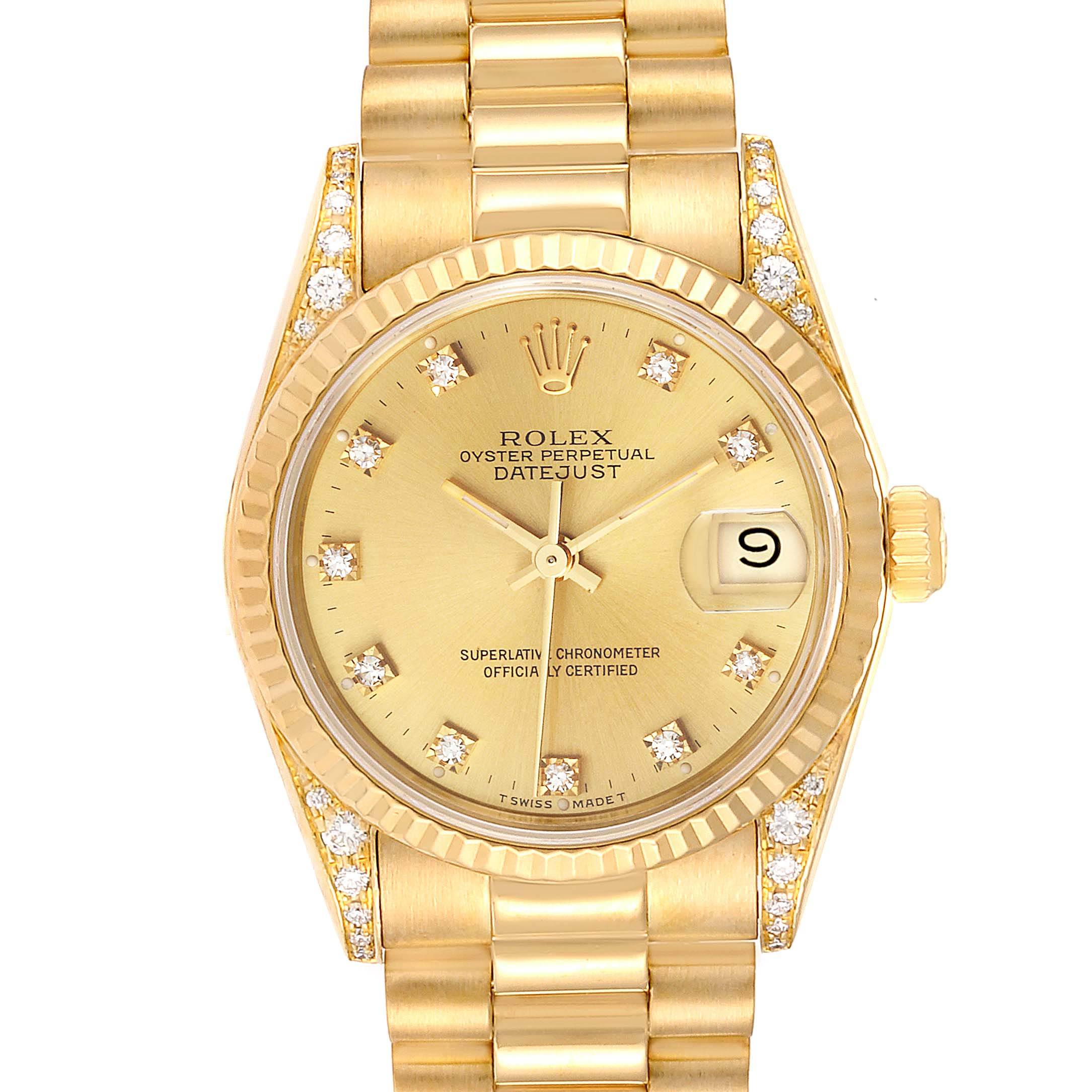 Rolex President Midsize Yellow Gold Diamond Ladies Watch 68238 Box Papers