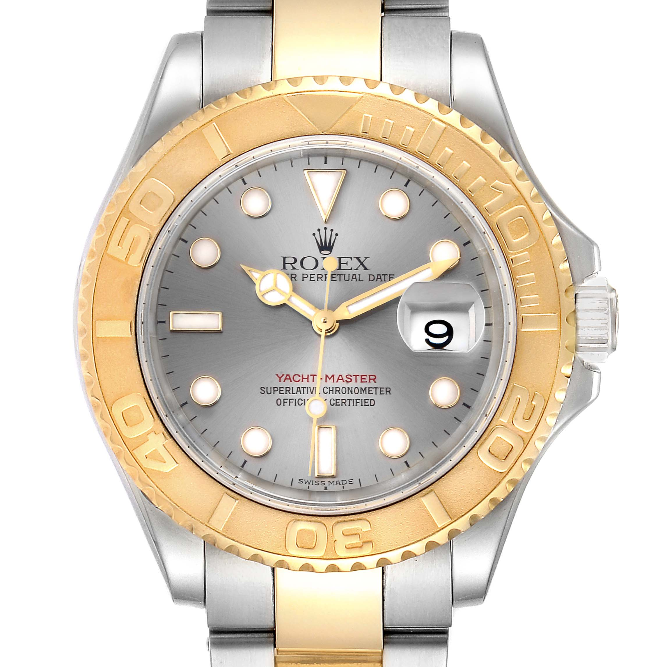 Rolex Yachtmaster Steel Yellow Gold Slate Dial Mens Watch 16623 Box Papers