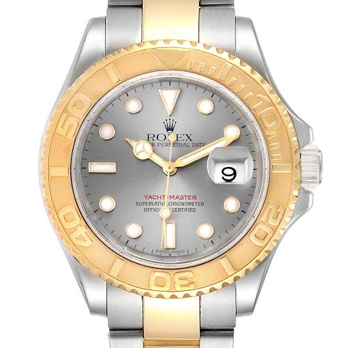Photo of Rolex Yachtmaster Steel Yellow Gold Slate Dial Mens Watch 16623 Box Papers