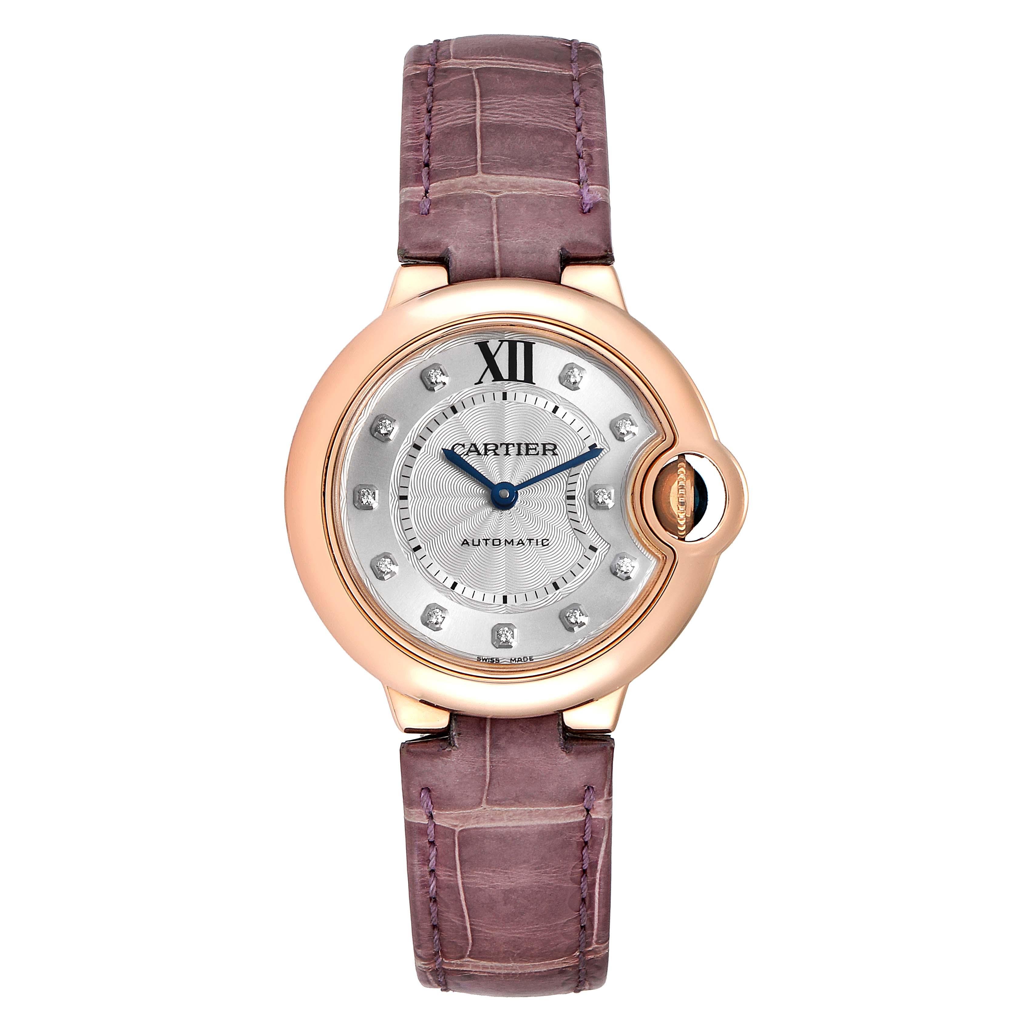 Cartier Ballon Bleu 33 Rose Gold Diamond Ladies Watch WE902063 Box Papers SwissWatchExpo