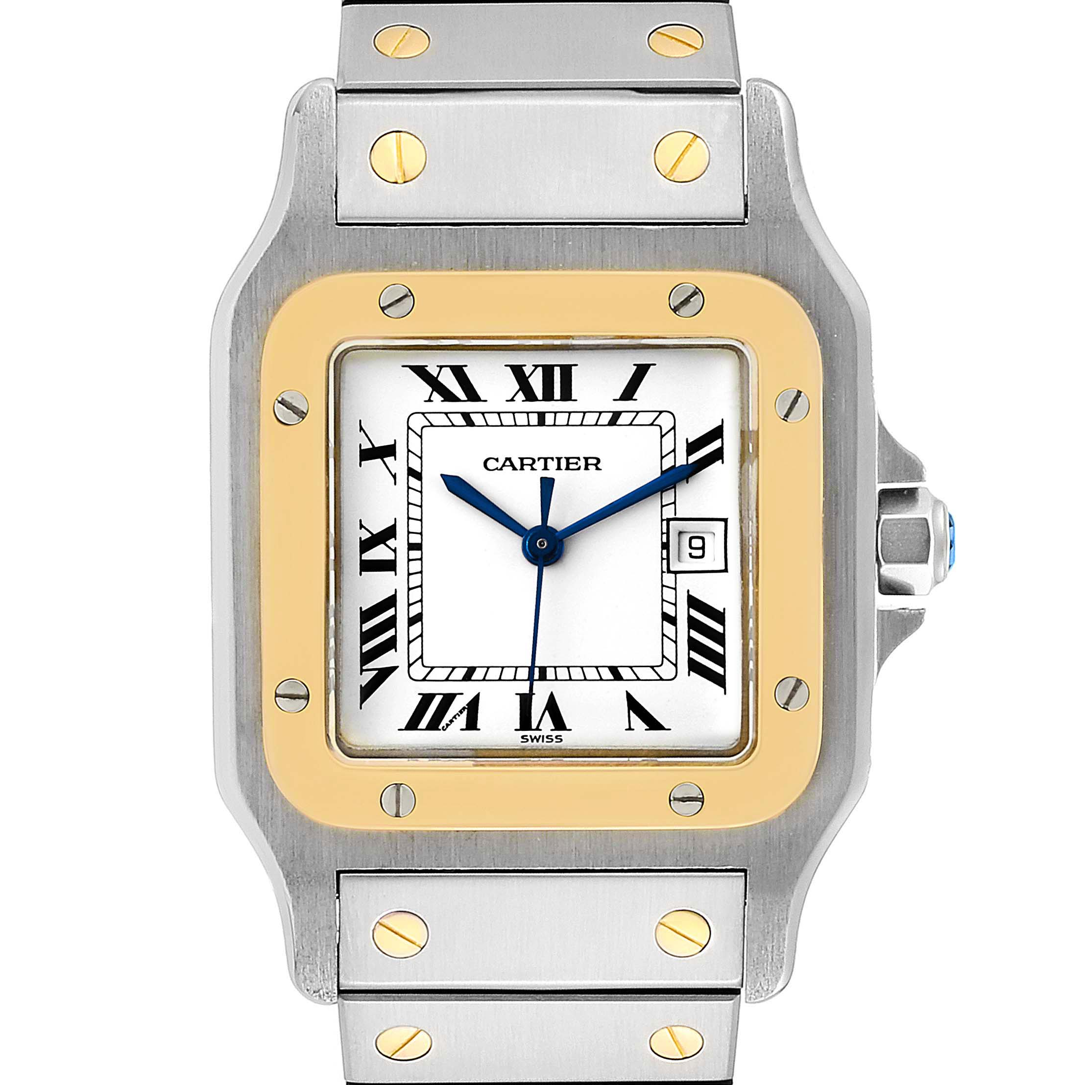 Cartier Santos Galbee 29mm Steel Yellow Gold Mens Watch 2380 SwissWatchExpo