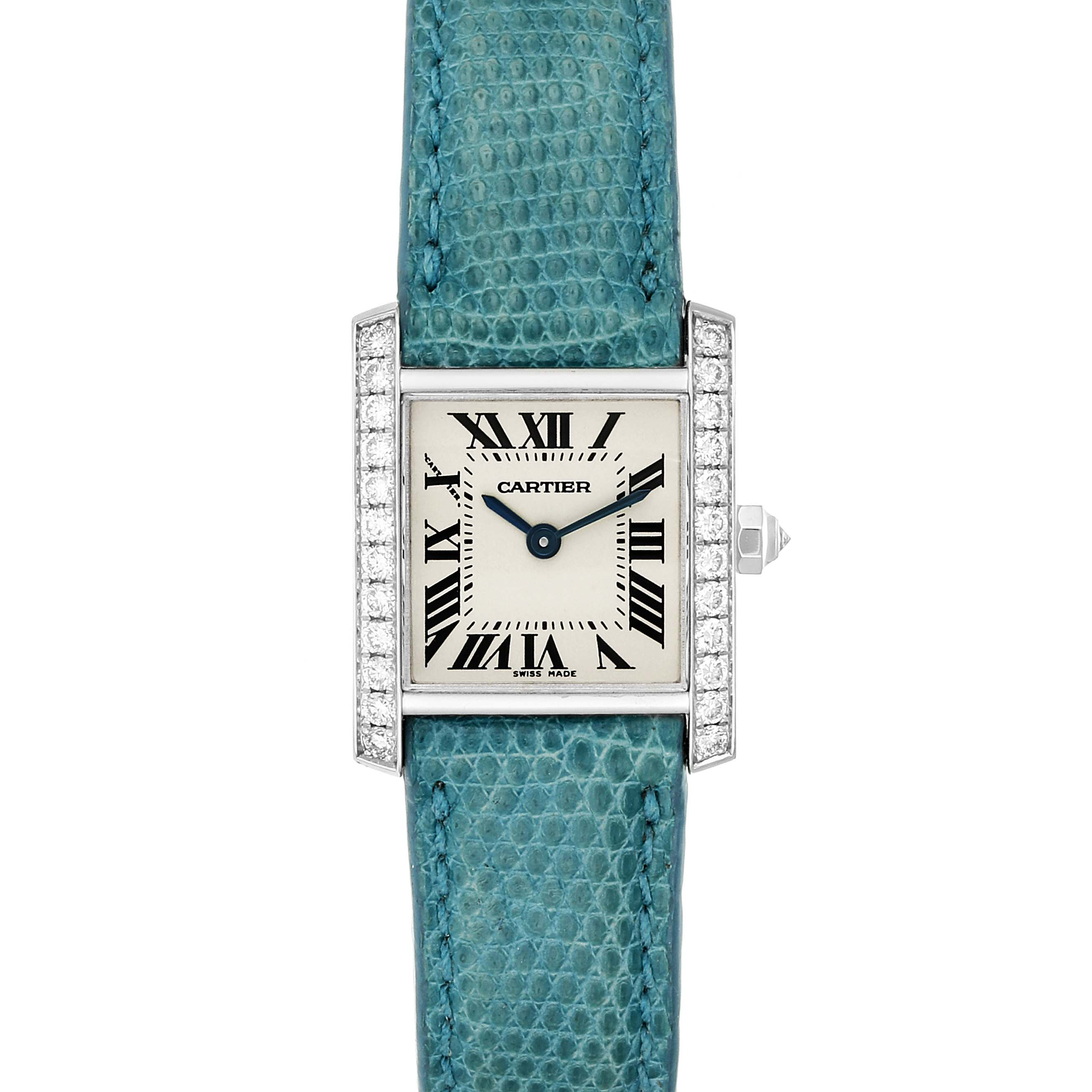 Cartier Tank Francaise White Gold Diamond Ladies Watch WE100231 Box Papers