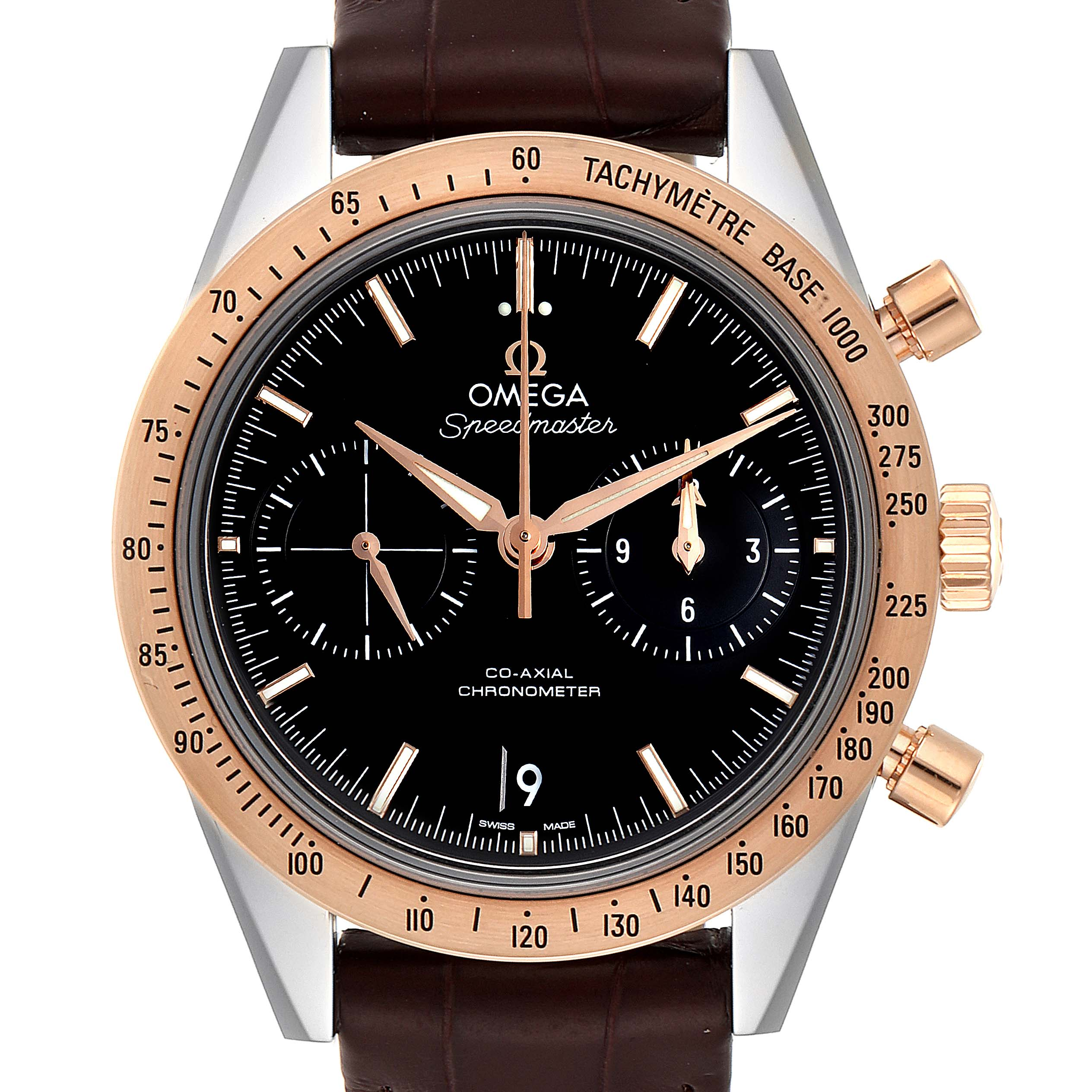 Omega Speedmaster Steel Rose Gold Watch 331.22.42.51.01.001 Box Card
