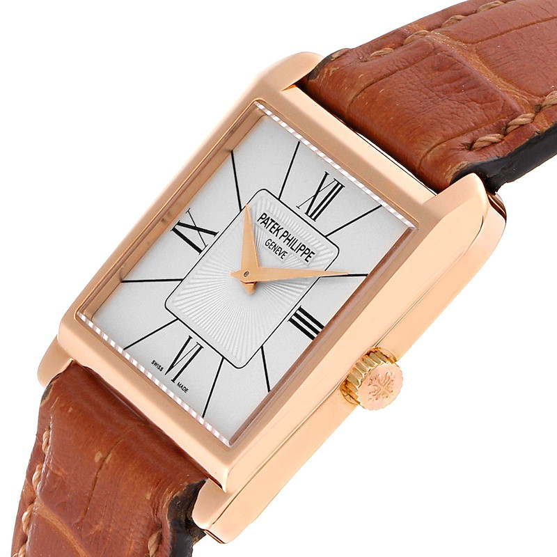 Patek Philippe Gondolo Trapeze Rose Gold Silver Dial Mens Watch 5489 SwissWatchExpo