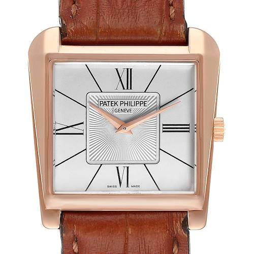 Photo of Patek Philippe Gondolo Trapeze Rose Gold Silver Dial Mens Watch 5489