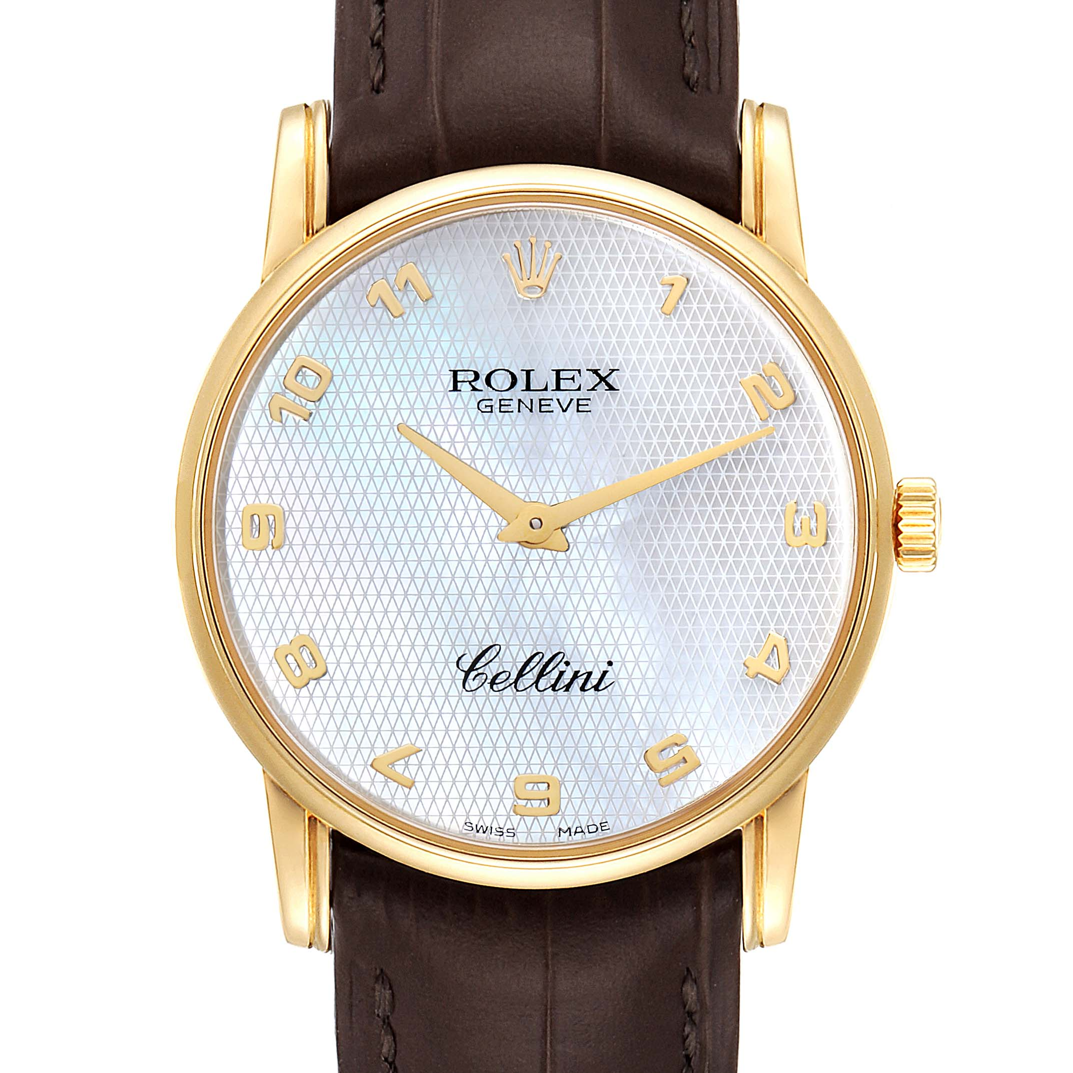 Rolex Cellini Classic Yellow Gold Mother of Pearl Dial Mens Watch 5116 SwissWatchExpo