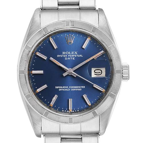 Photo of Rolex Date Blue Sigma Dial Vintage Steel Mens Watch 1501