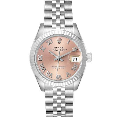 Photo of Rolex Datejust 28 Steel White Gold Pink Dial Ladies Watch 279174 Box Card