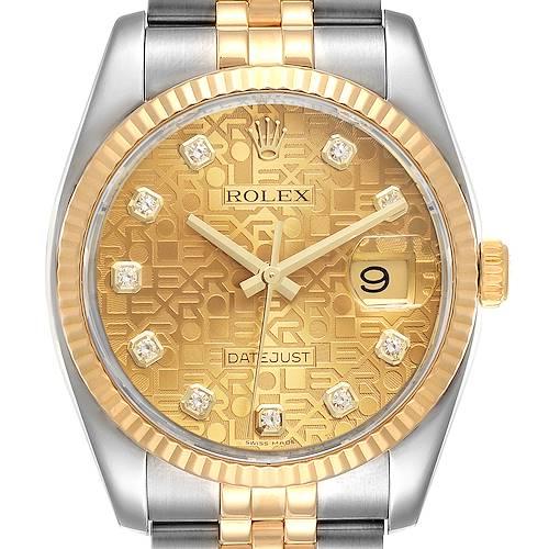 Photo of Rolex Datejust 36 Steel Yellow Gold Diamond Mens Watch 116233