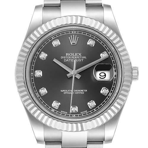 Photo of Rolex Datejust II 41mm Steel White Gold Diamond Mens Watch 116334