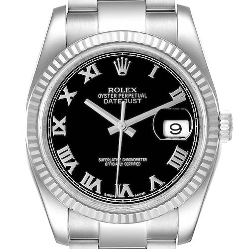 Photo of Rolex Datejust Steel 18K White Gold Black Dial Mens Watch 116234