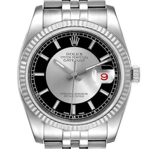 Photo of Rolex Datejust Steel White Gold Tuxedo Dial Mens Watch 116234