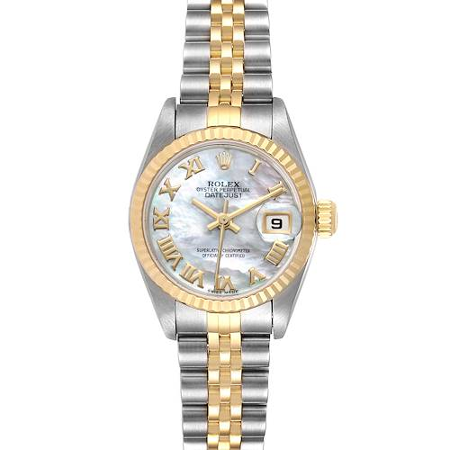Photo of Rolex Datejust Steel Yellow Gold MOP Roman Dial Watch 79173 Box Papers