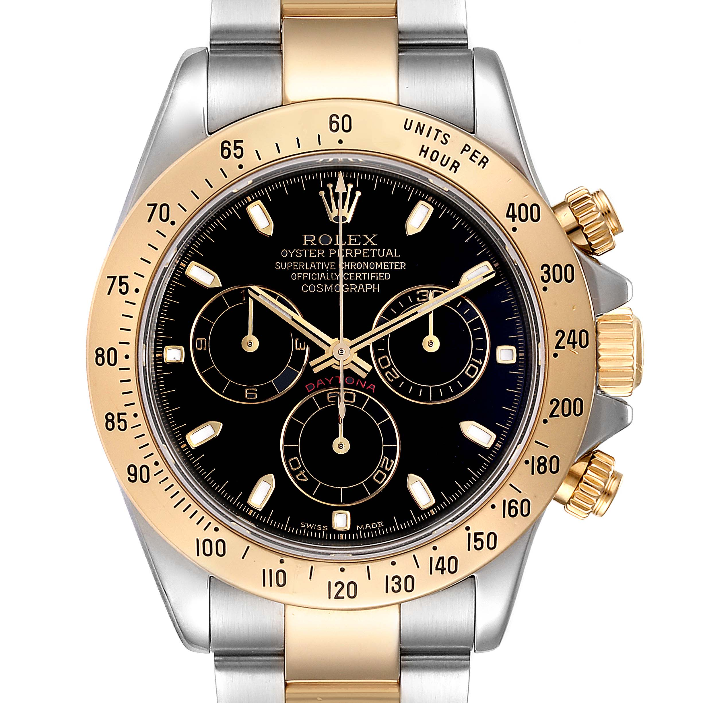 Rolex Daytona Steel Yellow Gold Black Dial Chronograph Mens Watch 116523